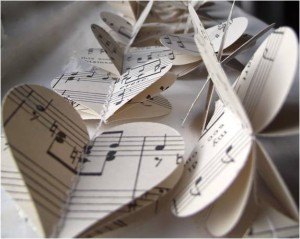 DIY sheet music wedding decorations
