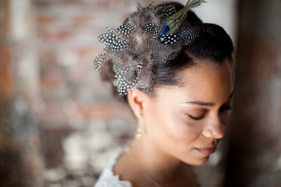 how amazing is this peacock feather bridal headband