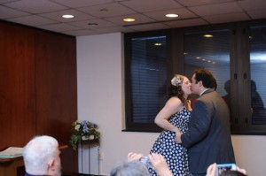 intimate & offbeat courthouse wedding in maryland bride polka dot dress (6)
