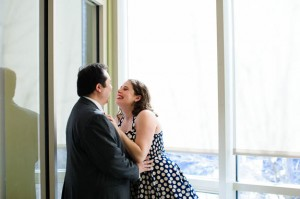 intimate & offbeat courthouse wedding in maryland bride polka dot dress (1)
