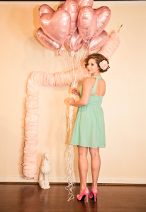 vintage pink & Teal valentine's heart balloons wedding inspiration (18)