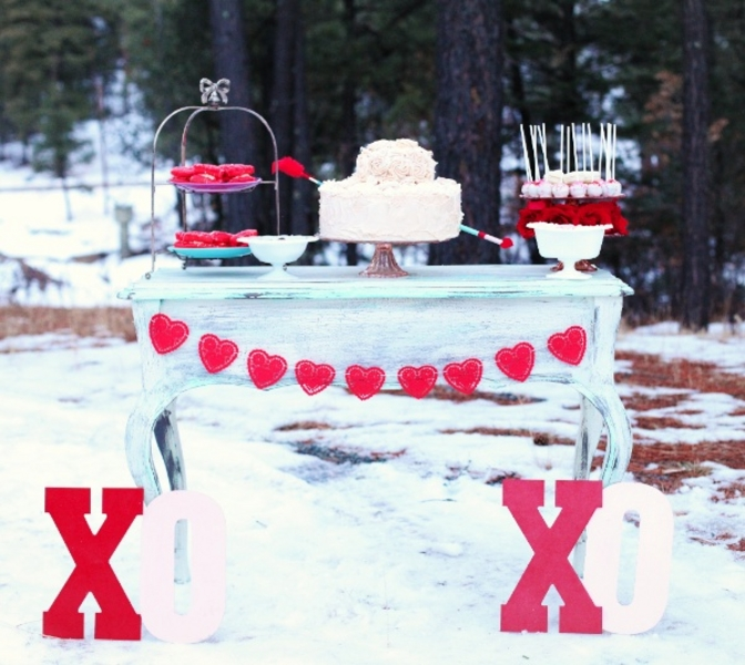 red hearts snowy new mexico wedding inspiration
