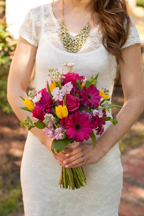 wildflower bouquet pink yellow bridal wedding
