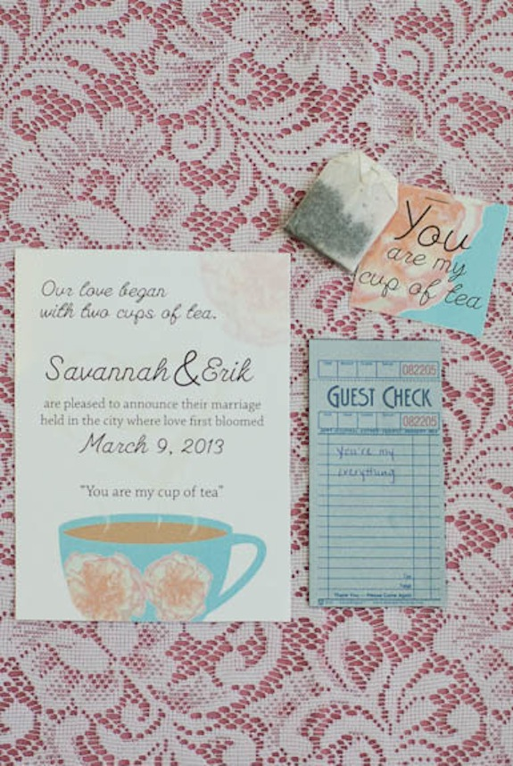 brunch tea wedding invitations