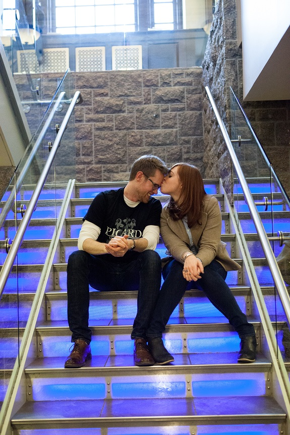creative unique hipster engagement pictures in library