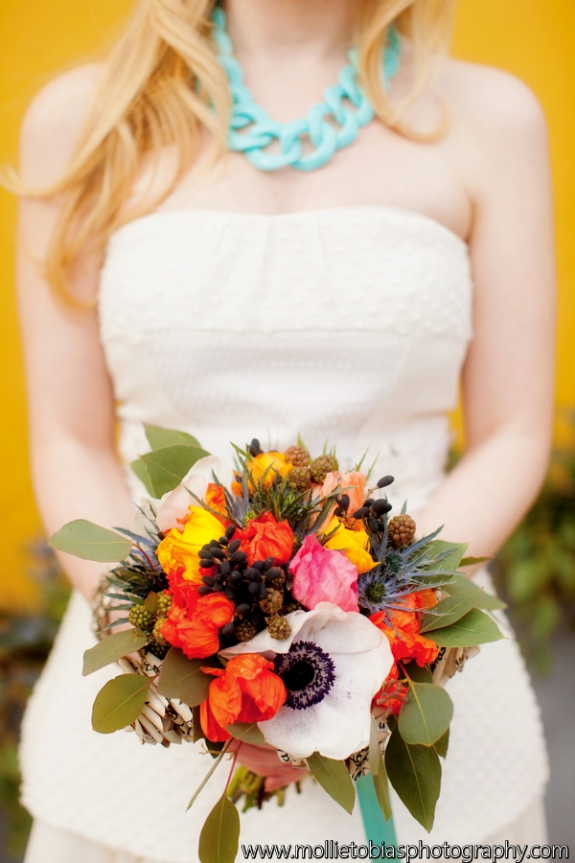 modern bridal bouquet coral peony
