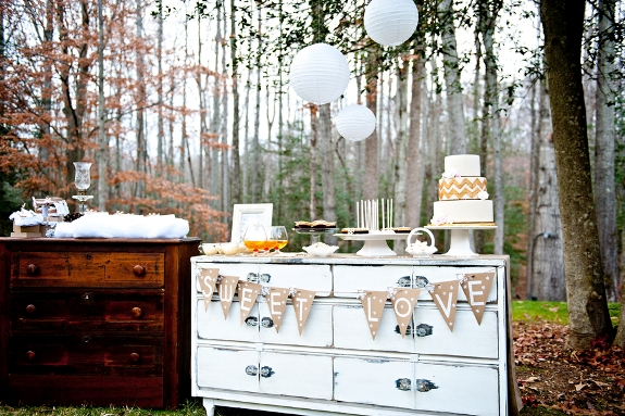 rustic winter weding dessert display vintage furniture