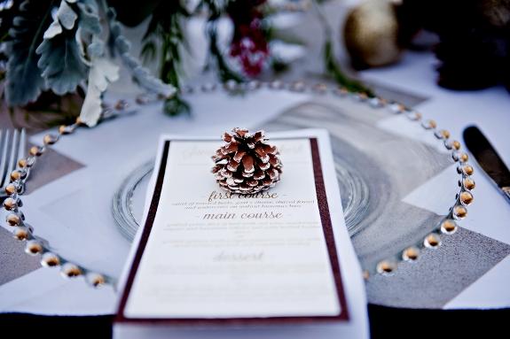 winter wedding invitations paper design pinecones
