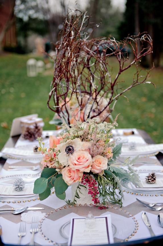 rustic winter wedding DIY wedding details decorations centerpieces tablescape