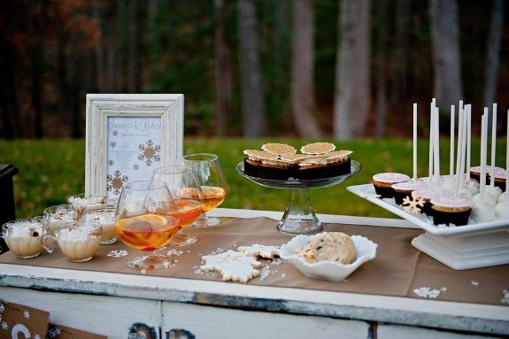 rustic winter wedding dessert bar display