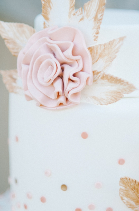 whimsical wedding cake speckled pink gold polka dots