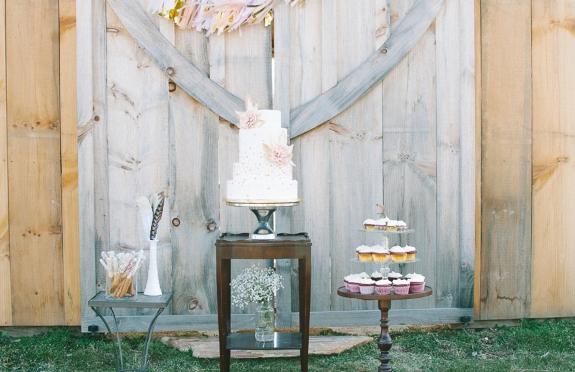 bohemian whimsical wedding dessert display