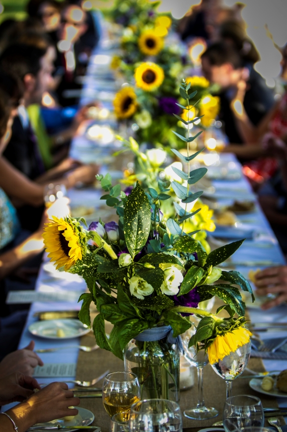 DIY yellow sunflowers offbeat outdoors maryland farm wedding