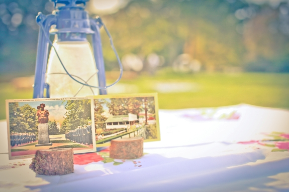 DIY vintage wedding centerpieces lamps postcards