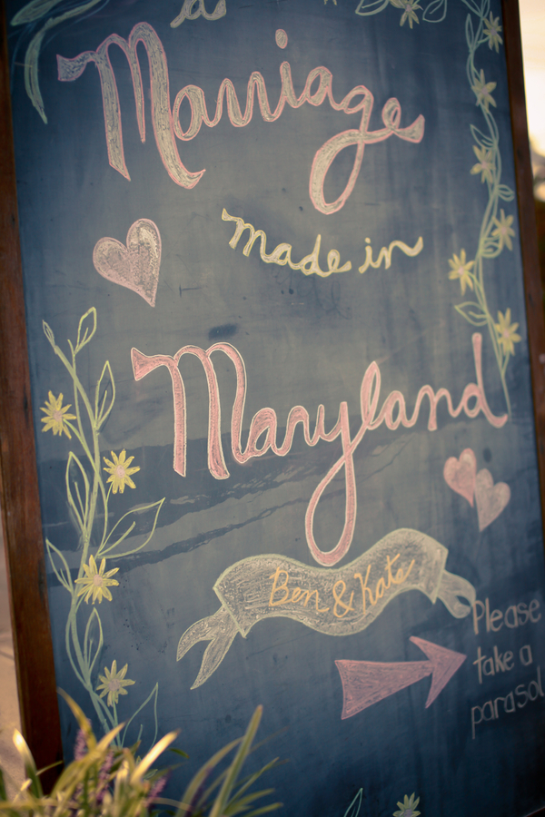 handmade DIY chalkboard sign wedding