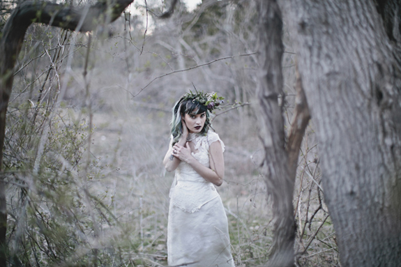 lady of the lake dark modern gothic bridal wedding inspiration