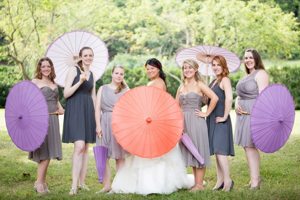 mismatched grey bridesmaids parasols pictures