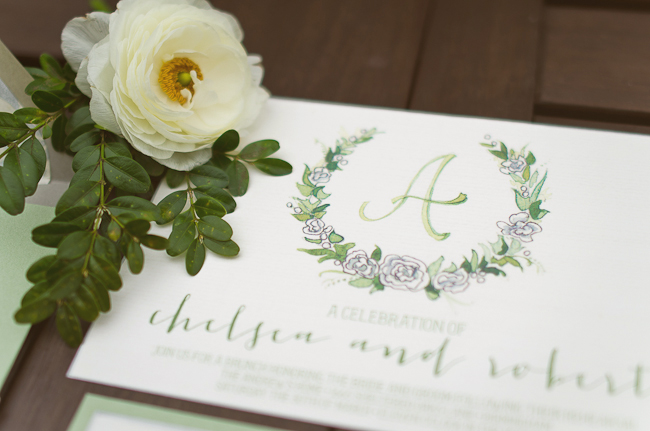 handpainted watercolor green wedding invitation suite