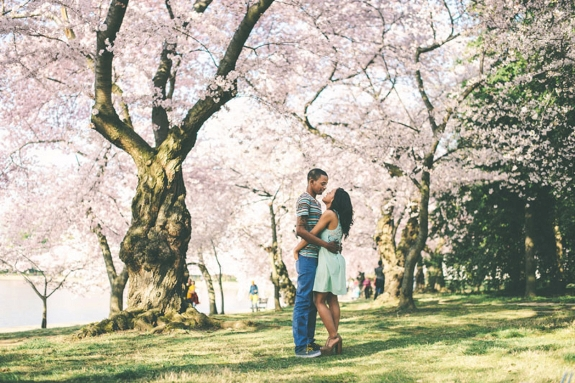 Washington DC cherry blossom engagement pictures tidal basin