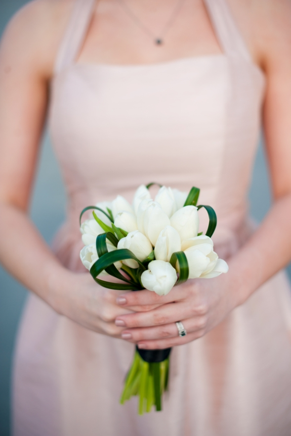 simple white tulips bouquet intimate DC wedding