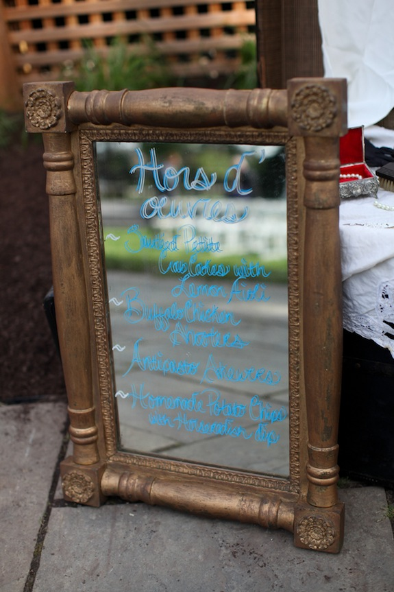 DIY menu on mirror vintage