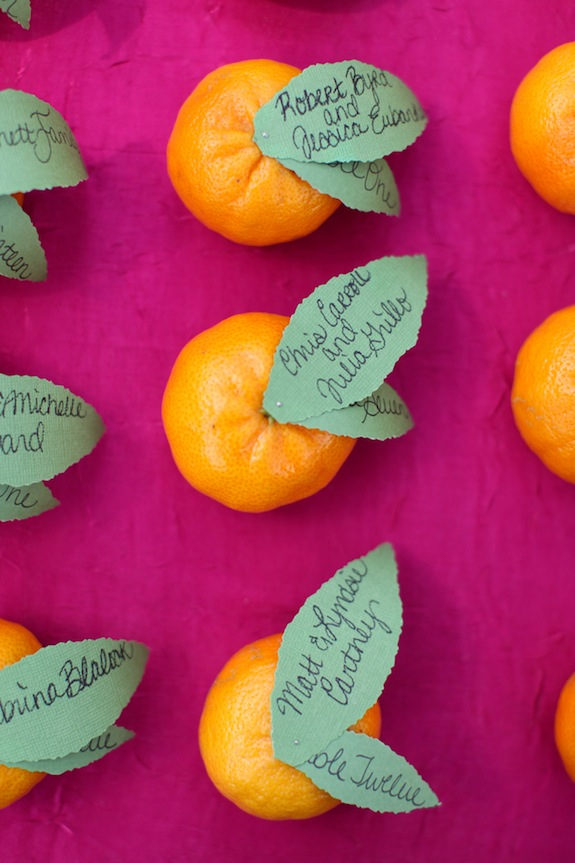 DIY escort card from fruit