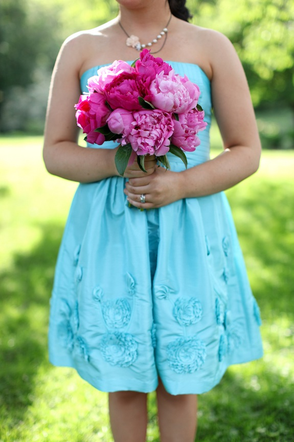 teal and hot pink wedding