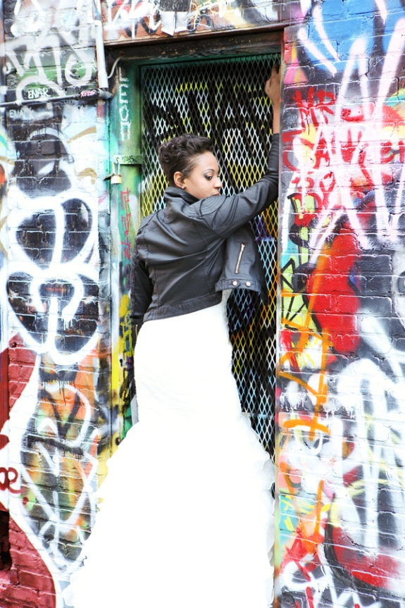 bride leather jacket graffiti rock the frock pictures
