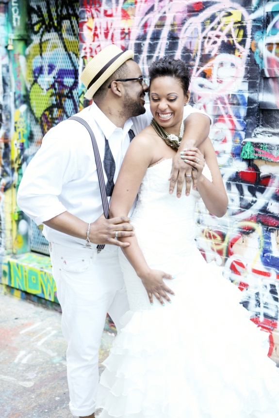 offbeat alternative graffiti wedding portraits trash the dress pictures