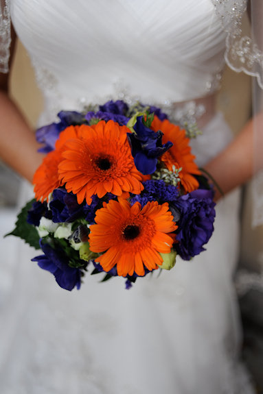 purple orange gerber daisey bouquet