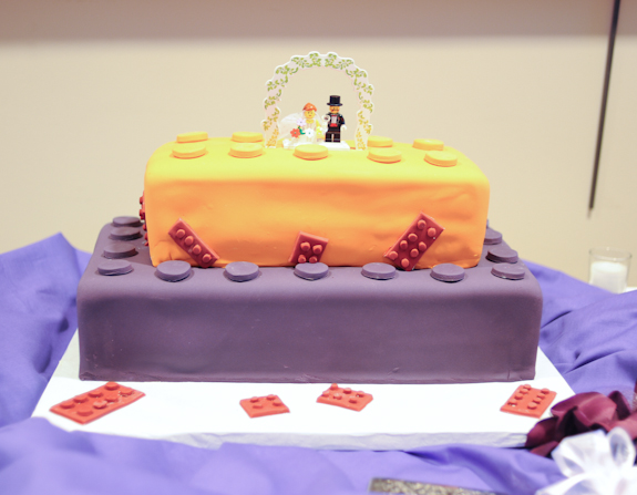 alternative lego themed wedding cake