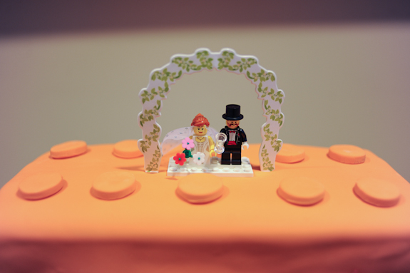 offbeat lego themed wedding cake legos cake topper