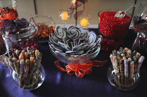purple orange candy display Virginia wedding