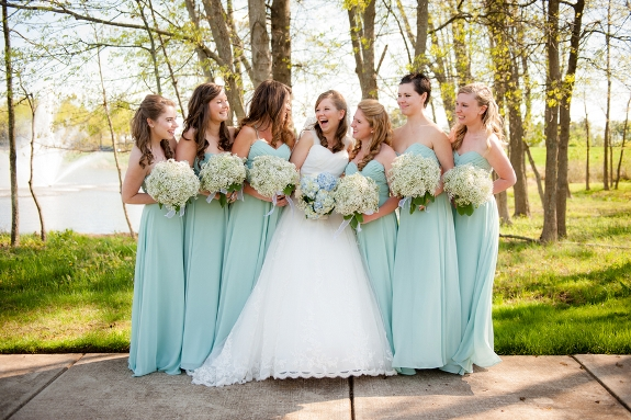 seafoam floor length bridesmaids dresses