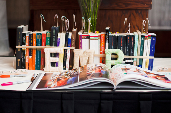 book themed wedding yarn letters
