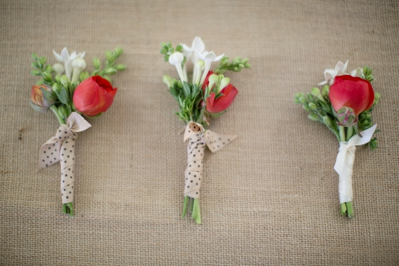 rustic DIY red boutonnieres