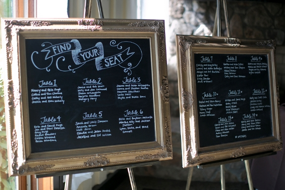 DIY gold frame chalkboards escort display