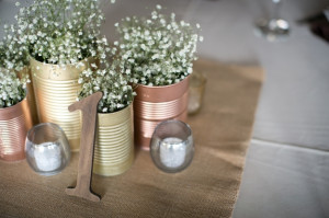 DIY neutral gold wedding centerpieces babys breath
