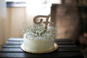 mini wedding cake babys breath topper
