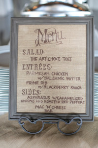 DIY burlap menu sign