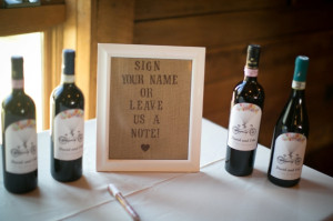 DIY wine bottle guest book