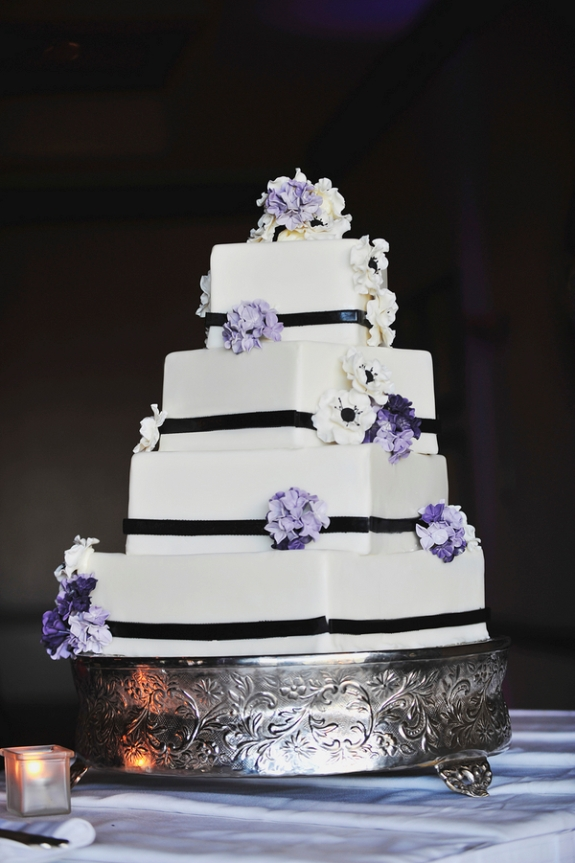purple black wedding cake