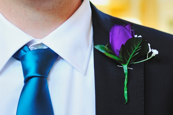 teal tie purple boutonniere