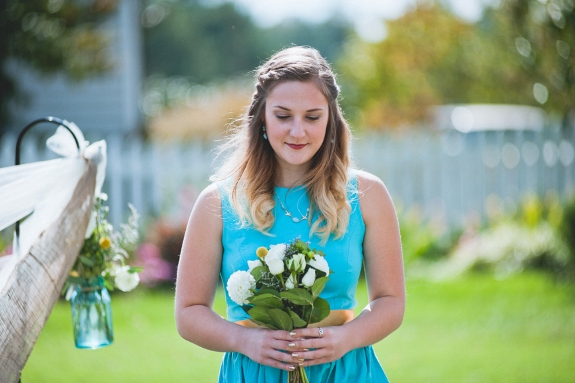 bright blue and yellow bridesmaids dresses