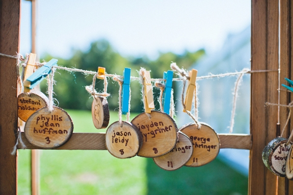 DIY virginia wedding wood escort cards