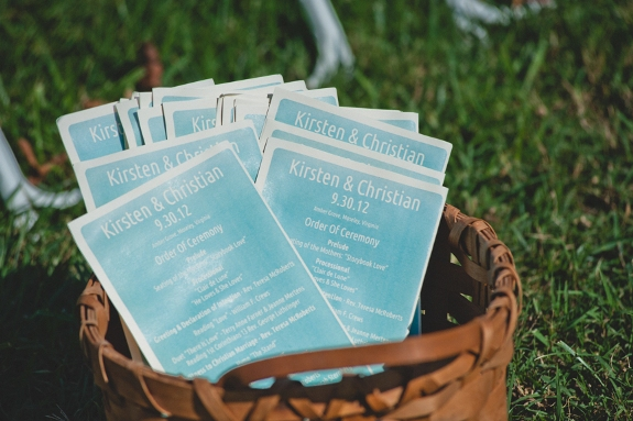 DIY blue wedding programs Virginia
