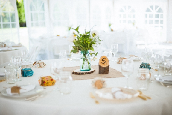 DIY virginia wedding wood centerpieces