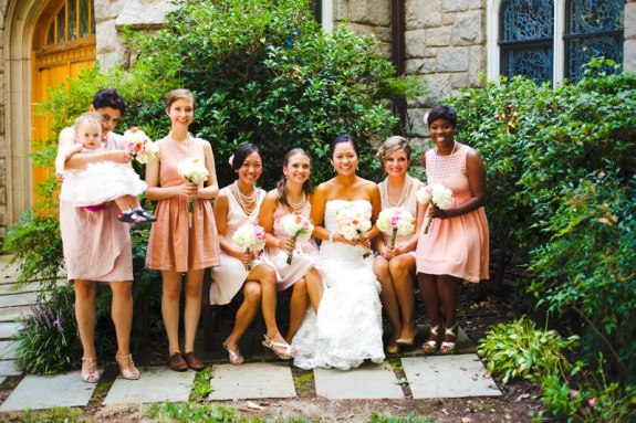 neutral bridesmaids mismatched DC wedding