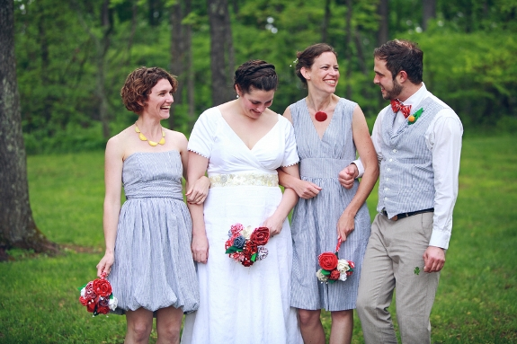 eclectic blue bridesmaids