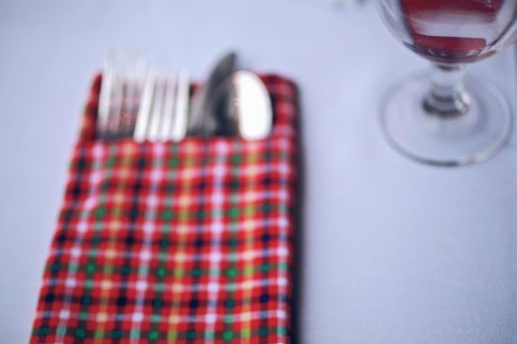plaid napkin pocket fold wedding